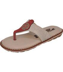 sandália infantil raniel calçados papete chinelo dedo costura gelo/vermelho