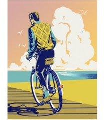 """david chestnutt beach bike canvas art - 27"""" x 33.5"""""""