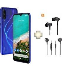 celular xiaomi mi a3 64gb 4gb ram triple cámara - azul + audífonos