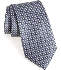 men's brioni geometric silk tie, size one size - blue
