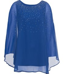 blusa in maglina con strass (blu) - bodyflirt boutique