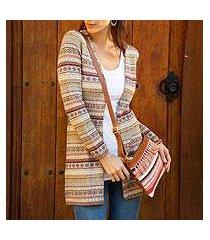 100% alpaca knit cardigan, 'pattern aplenty' (peru)