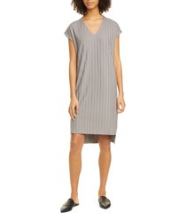 women's eileen fisher v-neck high/low ribbed shift dress