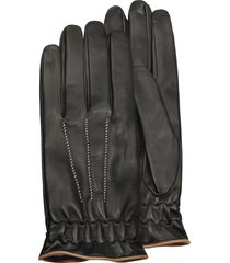 forzieri designer men's gloves, men's black cashmere lined calf leather gloves