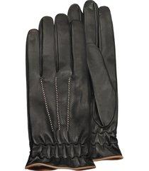 forzieri designer men's gloves, men's black cashmere lined calf leather gloves