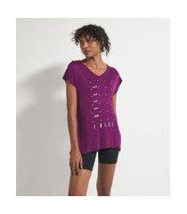 camiseta esportiva manga curta decote v estampa frase | get over | roxo | m