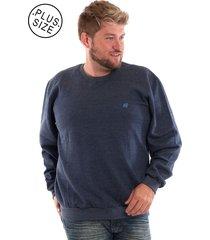 blusão konciny básico de moletom plus size azul marinho