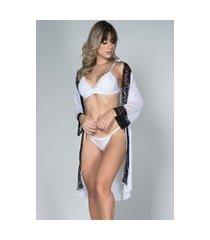 robe feminino tule com renda e conjunto lingerie maine serra e mar modas branco