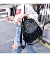 mochila de mujer, mochila con tachuelas de cuero suave para mujer de moda