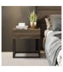 mesa lateral/cabeceira madeirado e tubos pretos carraro