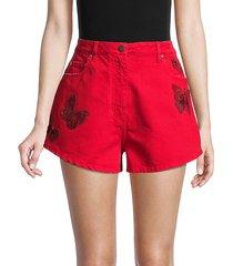 butterfly embellished denim shorts