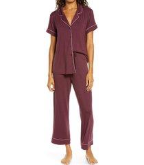 women's nordstrom moonlight dream crop pajamas, size large - burgundy