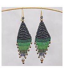 hand-knotted dangle earrings, 'boho diamonds in green' (thailand)