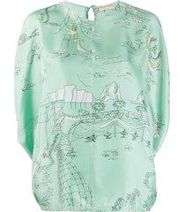 emilio pucci la canzone del mare-print cape-sleeve top - green