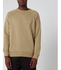 maison kitsuné men's fox head patch sweatshirt - light khaki - m