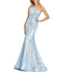 women's mac duggal one-shoulder lace mermaid gown, size 12 - blue