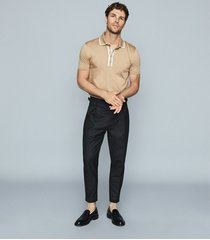 reiss aaron - press stud cotton polo shirt in camel, mens, size xxl