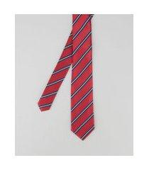 gravata em jacquard listrada vermelha