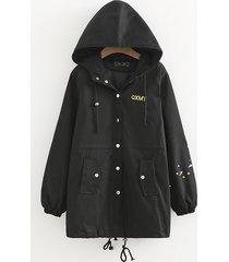 giacca a vento sottile con cappuccio stampata da donna