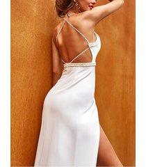yoins blanco entrecruzado diseño con tirantes finos con dobladillo abierto vestido