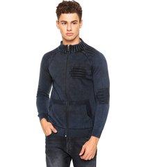 jaqueta officina do tricô algodão azul - kanui