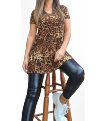 vestido animal print leopardo corto cafe mlk