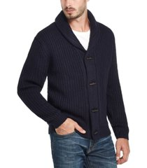 weatherproof vintage-inspired men's ribbed cardigan with toggles