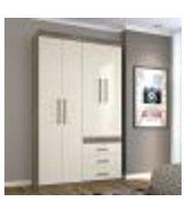 guarda roupa plus com 4 portas - castanho/off white