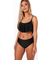 plus crop frill bikini, black