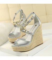 mujer zapatos sandalias de cuña fashion-cool-plateado