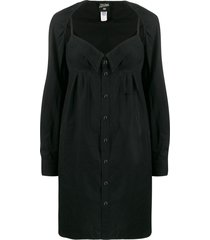 jean paul gaultier pre-owned 1990's layered shirt dress - black
