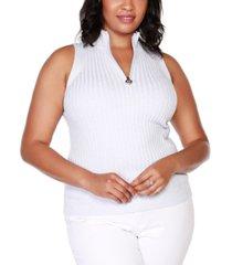 belldini black label plus size sleeveless mock-neck zip sweater