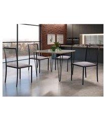 conjunto de mesa de jantar grécia com tampo de vidro siena e 4 cadeiras atos linho bege e preto