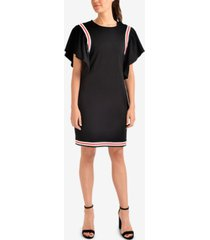 ny collection ruffled striped-contrast dress