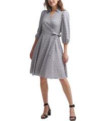 calvin klein striped a-line wrap dress