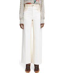 chloe zigzag detail wide leg stretch jeans, size 12 us in iconic milk 107 at nordstrom