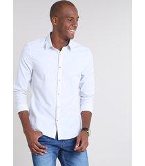 camisa masculina slim listrada manga longa off white