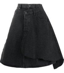 diesel wraparound denim skirt - black