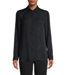 theory women's galaxy silk abstract-print shirt - black multi - size m