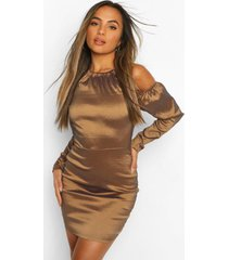 petite halterneck volume sleeve taffeta dress, gold