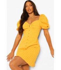 tall katoenen broderie jurk met pofmouwen, yellow