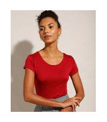 blusa básica manga curta decote redondo vermelha escuro