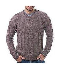 men's 100% alpaca pullover, 'dusty lavender style' (peru)