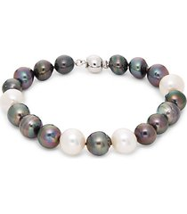 sterling silver & 10-11mm off-round tahitian & freshwater pearl bracelet