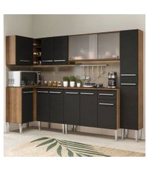 cozinha completa de canto madesa emilly space com armário vidro miniboreal, balcão e paneleiro rustic/preto rustic/preto