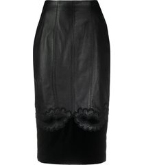 a.n.g.e.l.o. vintage cult 1980s paisley embroidery leather skirt -