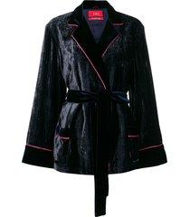 f.r.s for restless sleepers velvet wrap jacket - blue
