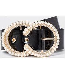 river island womens black pearl diamond circle belt