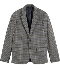 single-breasted knitted check blazer