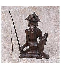 wood statuette, 'sindhu fisherman' (indonesia)
